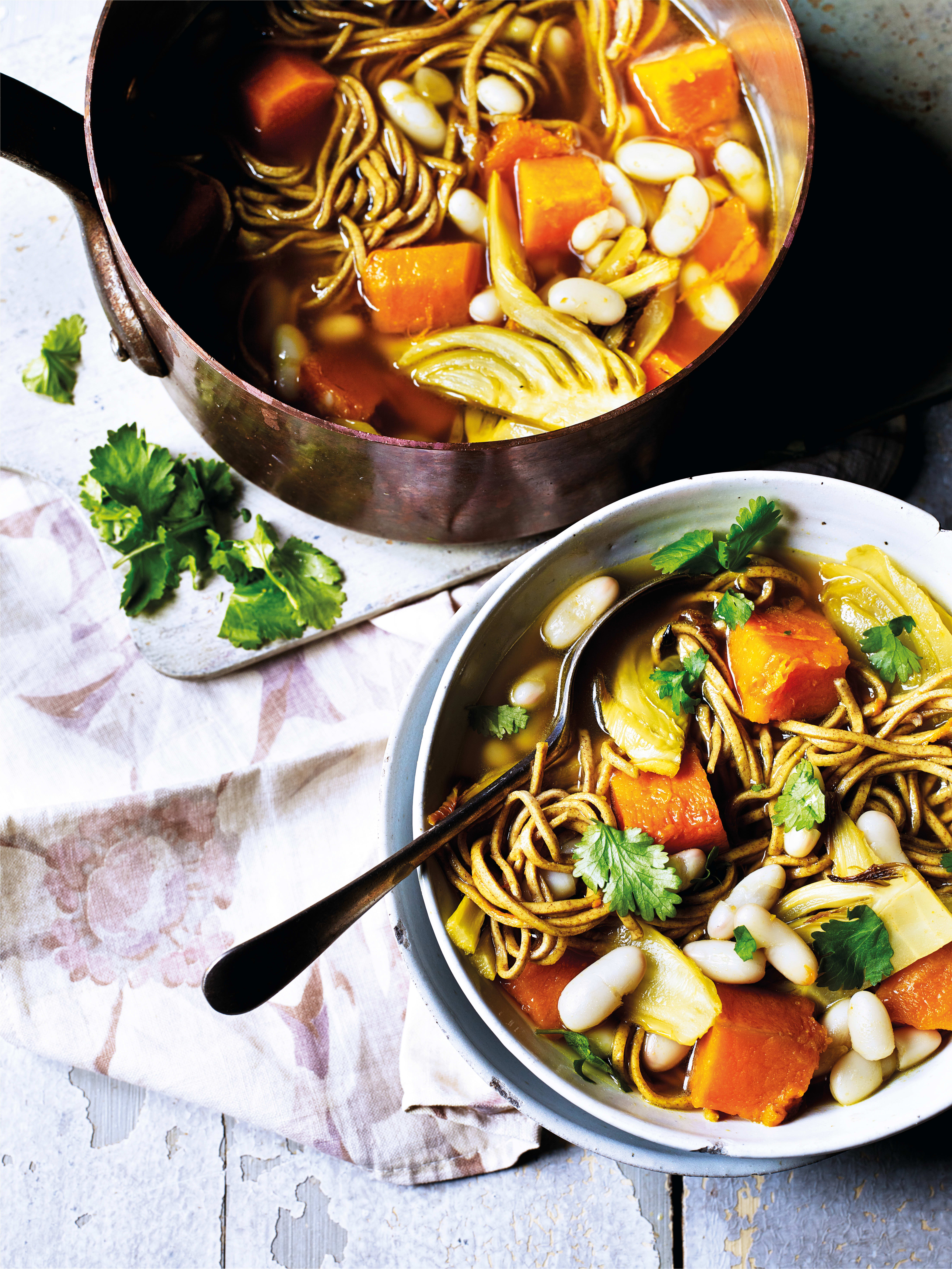 Photo of Turmeric broth bowl with beans, veg & noodles by WW