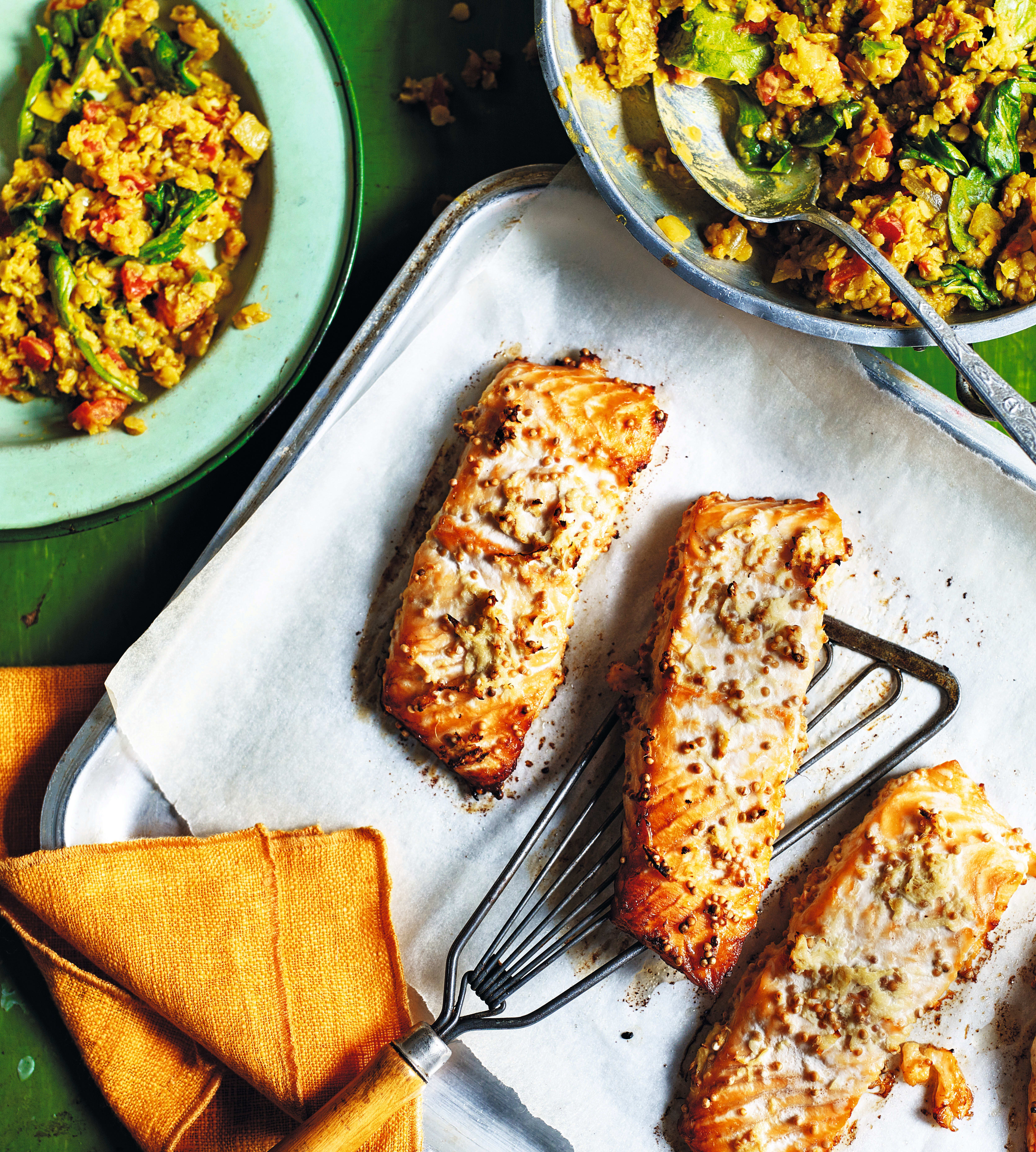 Photo of Ginger salmon with spicy spinach dhal by WW
