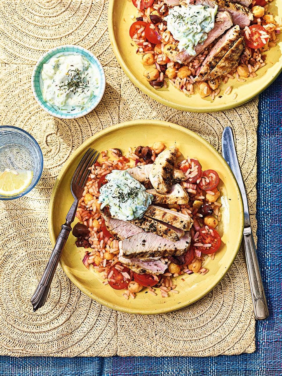 Photo of Greek-style pork souvlaki with tomato rice salad by WW