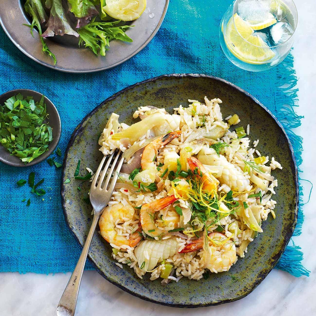 Photo of Squid & prawn pilaf with parsley salsa by WW