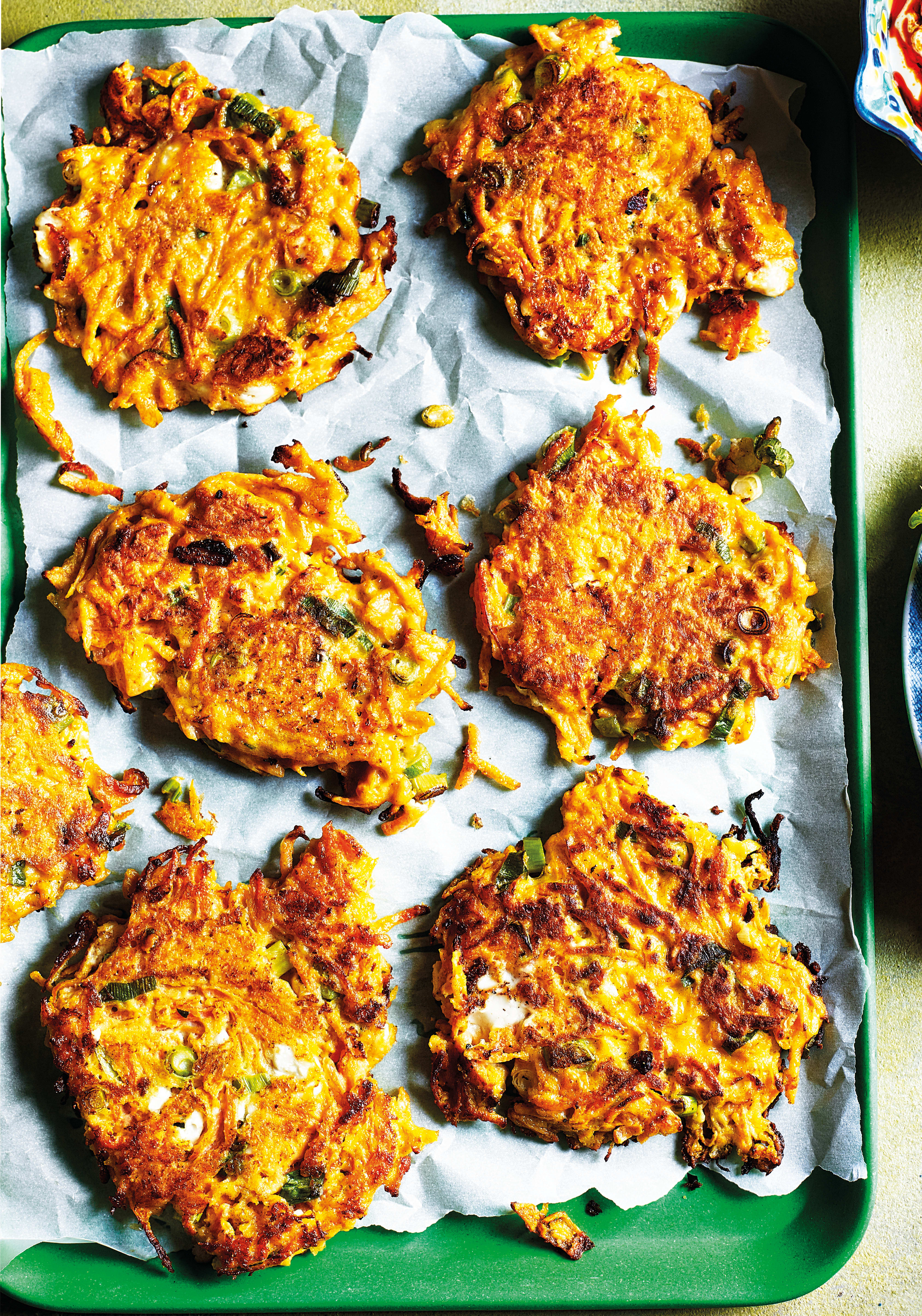 Photo of Carrot & feta fritters with harissa dipping sauce by WW