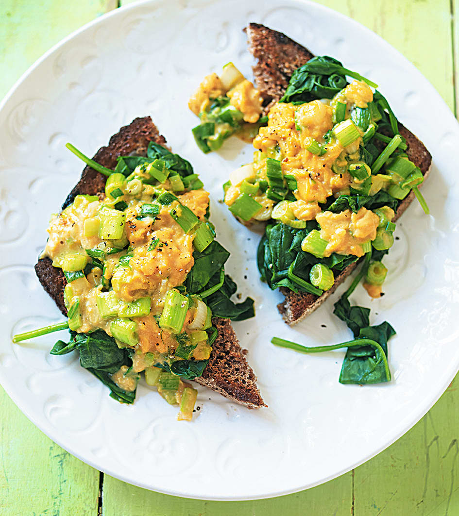 Photo of Scrambled eggs & spinach on rye by WW