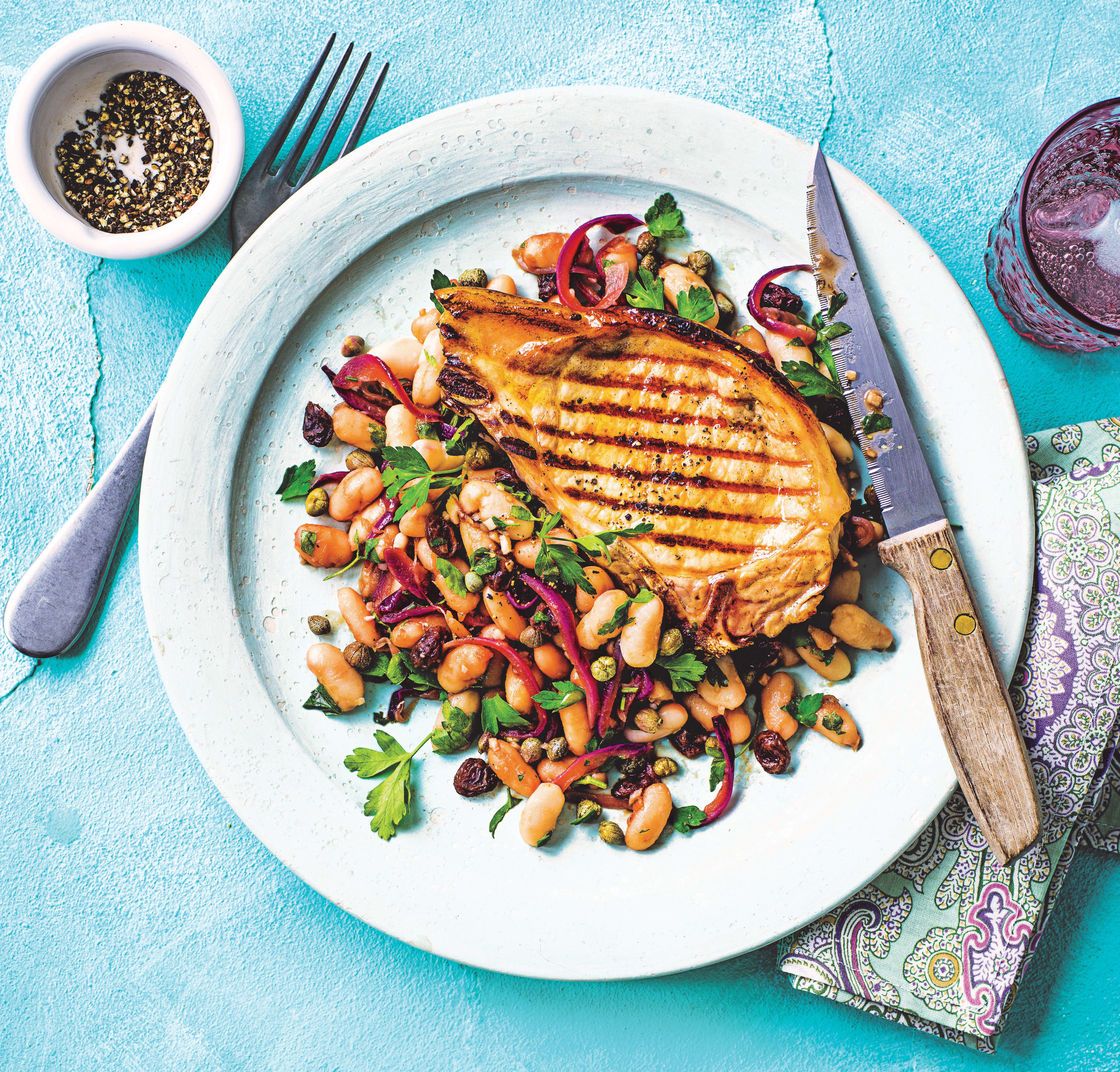 Photo of Pork chops with caponata-style beans by WW