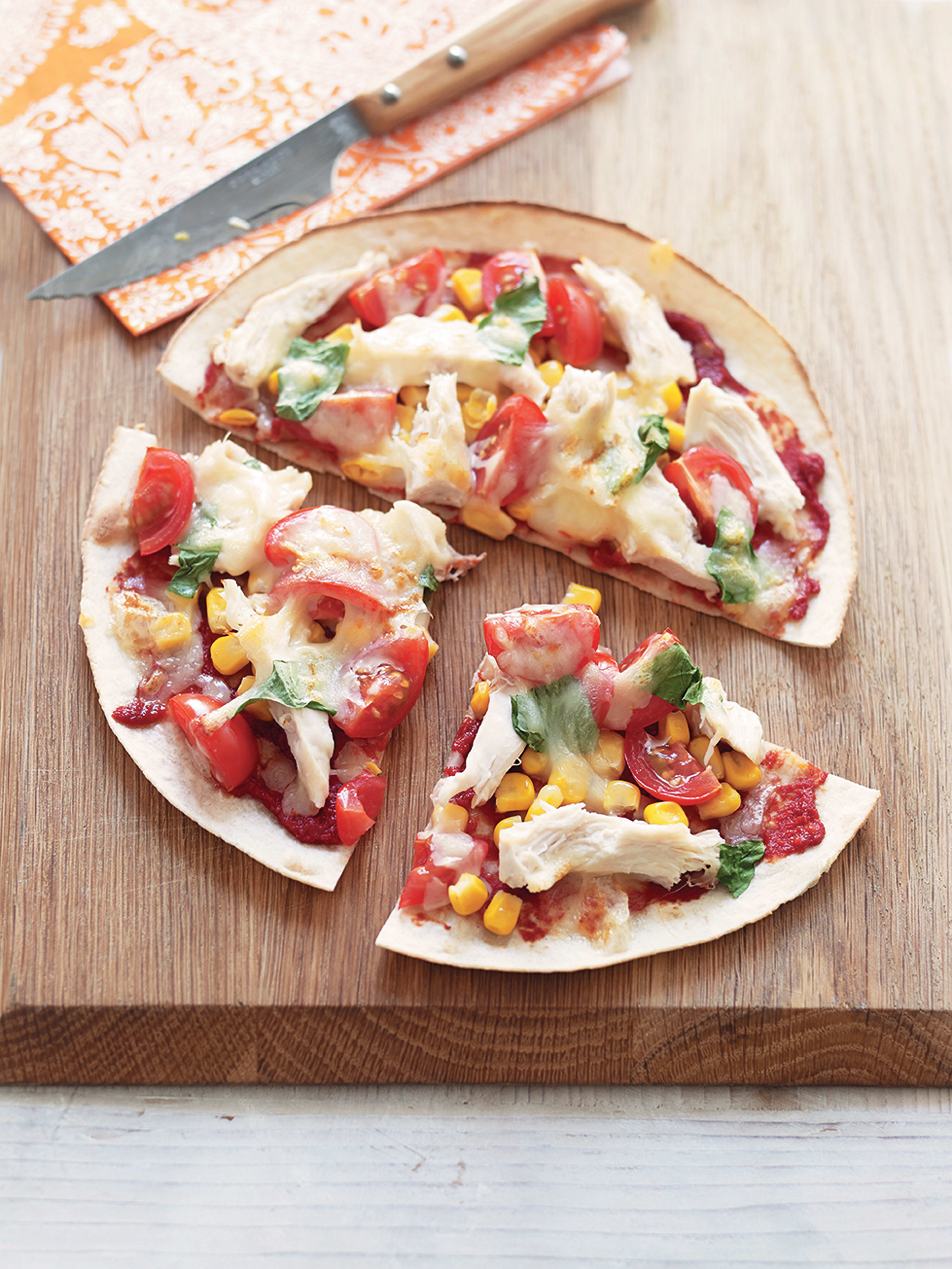 Photo of Super speedy tortilla pizza with sweet potato wedges by WW