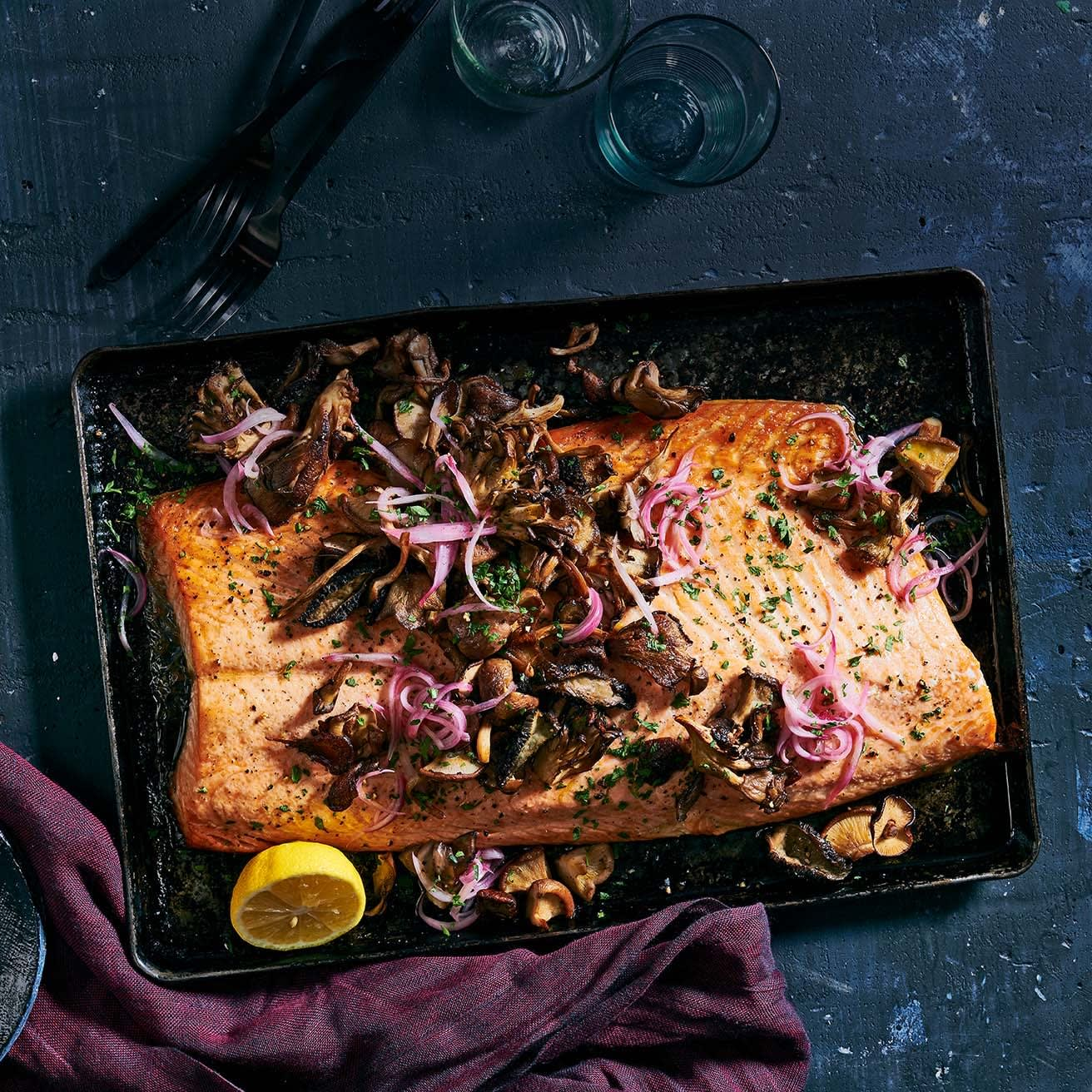 Photo of Roasted salmon & mushrooms with quick-pickled shallots by WW