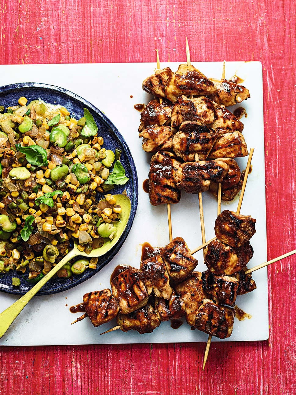 Photo of Beer-glazed chicken skewers with succotash by WW