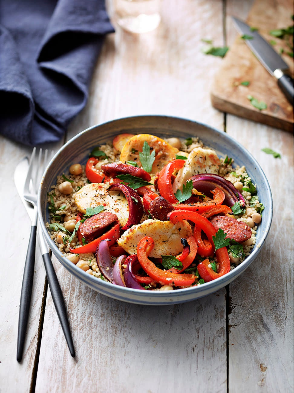 Photo of Chorizo & halloumi bake with chickpea couscous by WW