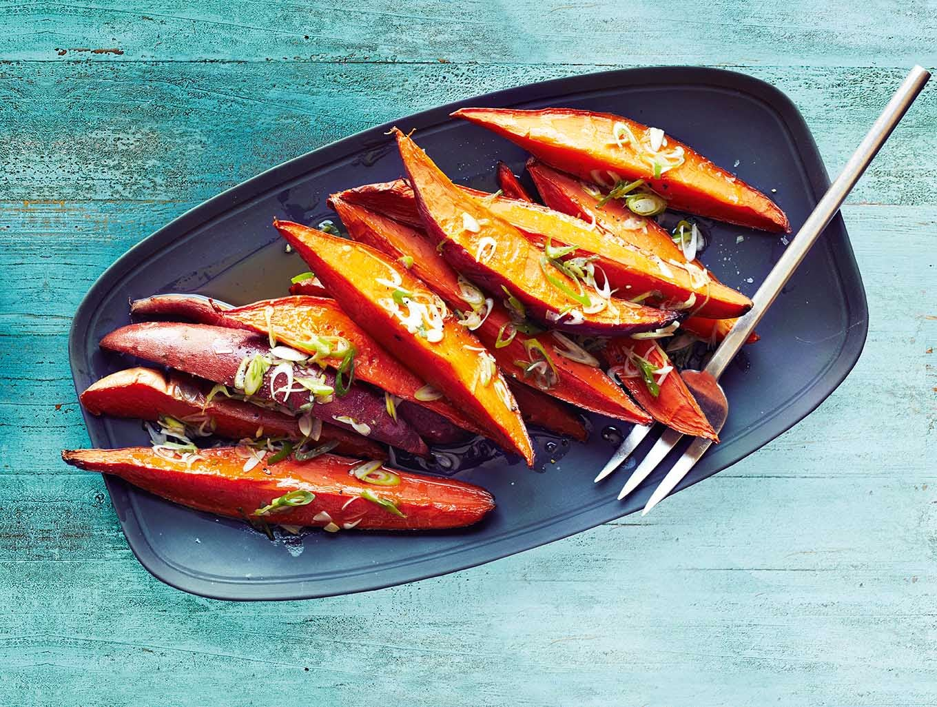 Photo of Sweet potato wedges with spring onion dressing by WW