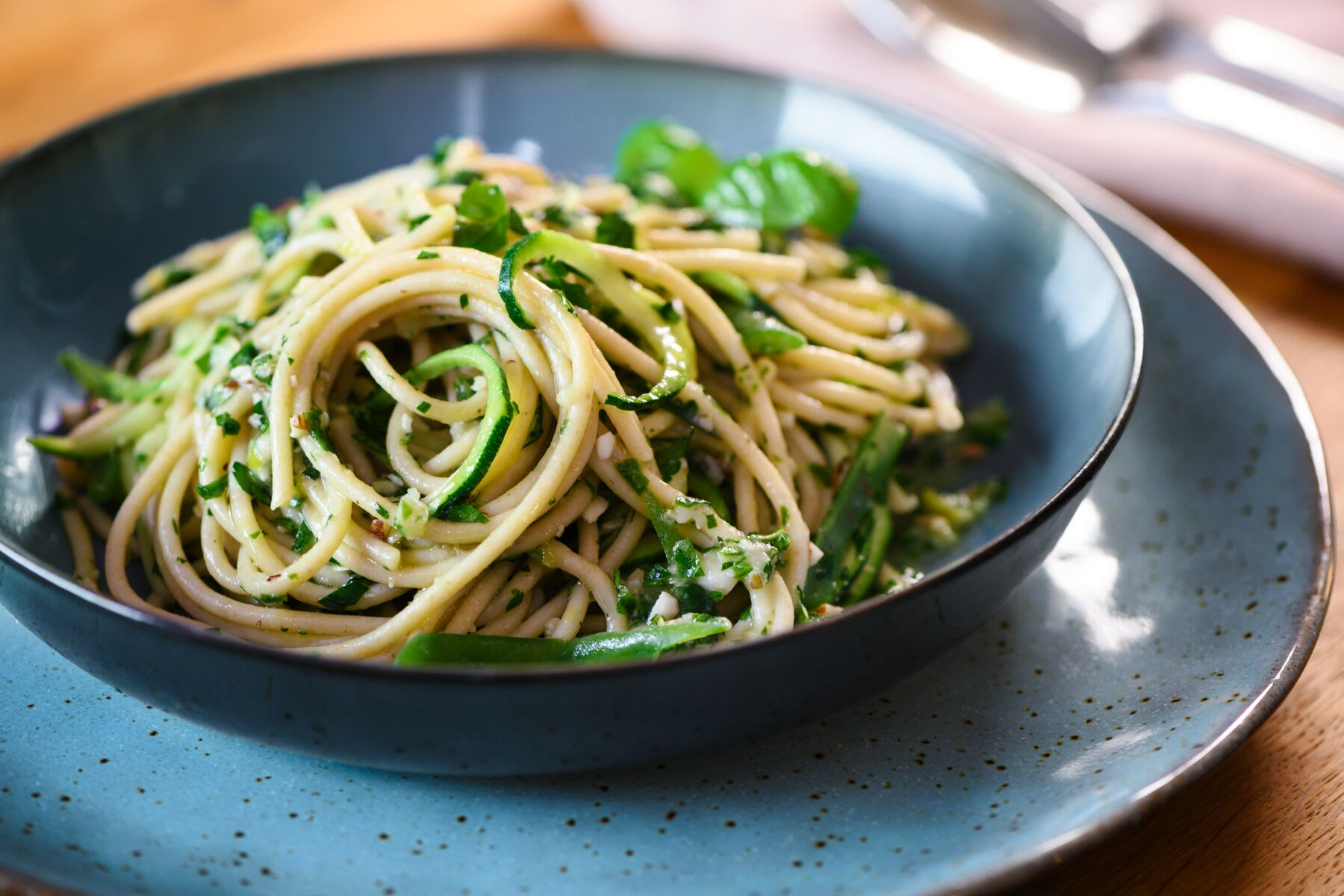 Photo of Creamy white bean pesto pasta by WW