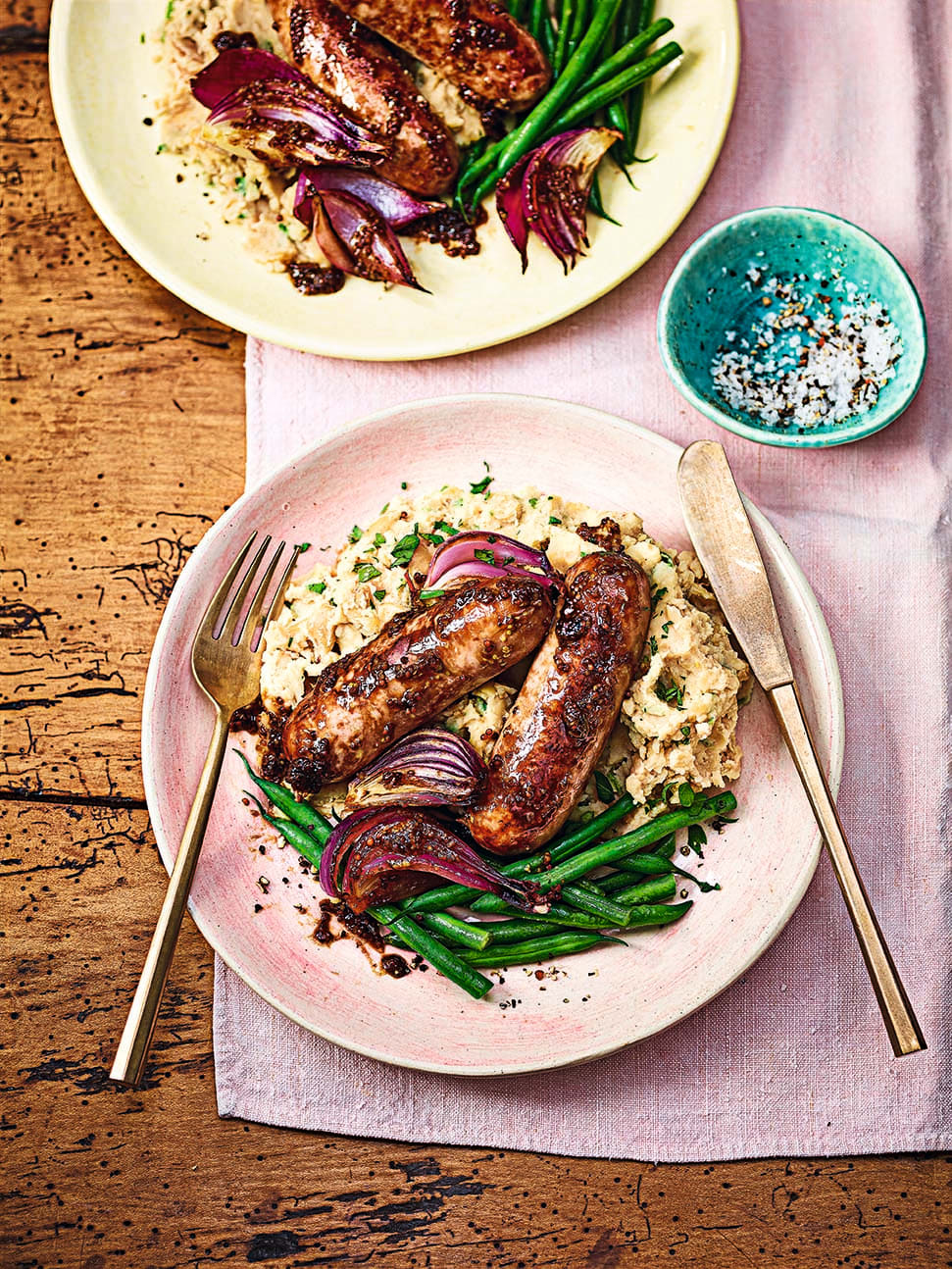 Photo of Balsamic-glazed sausages with roasted garlic mash by WW