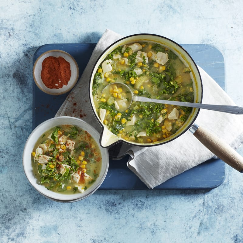 Photo of Corn, chicken & kale soup by WW