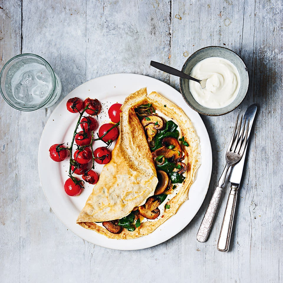 Photo of Mushroom & spinach crêpes with griddled tomatoes by WW