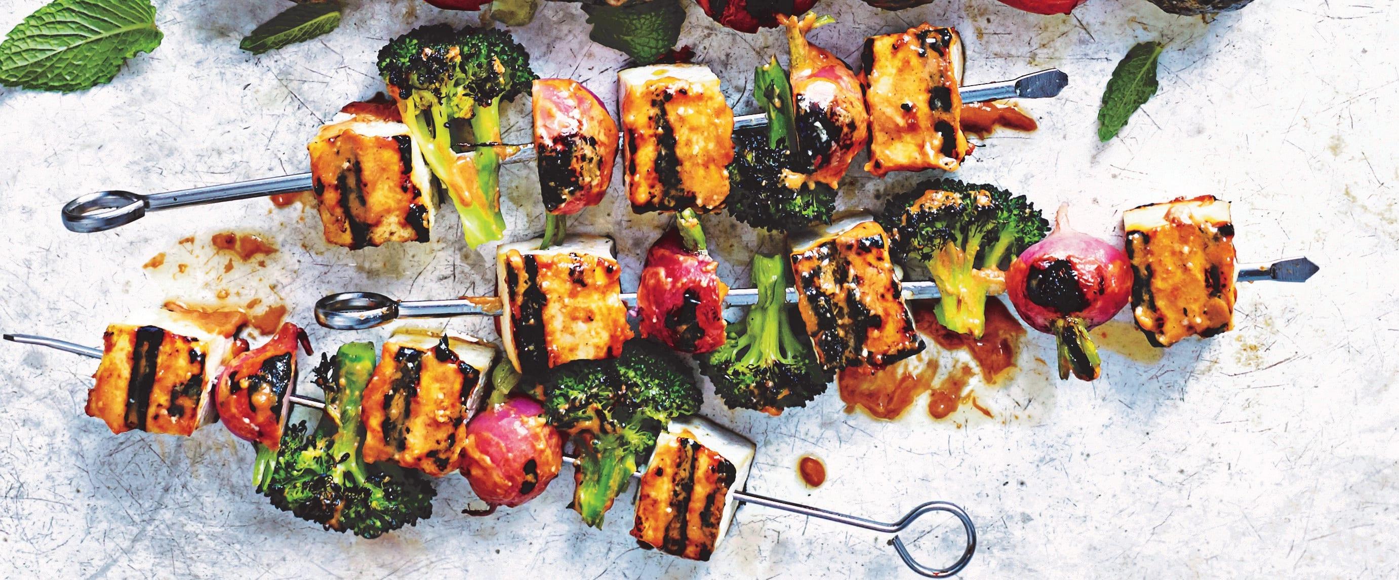 Photo of Tofu veggie kebabs with peanut-sriracha sauce by WW