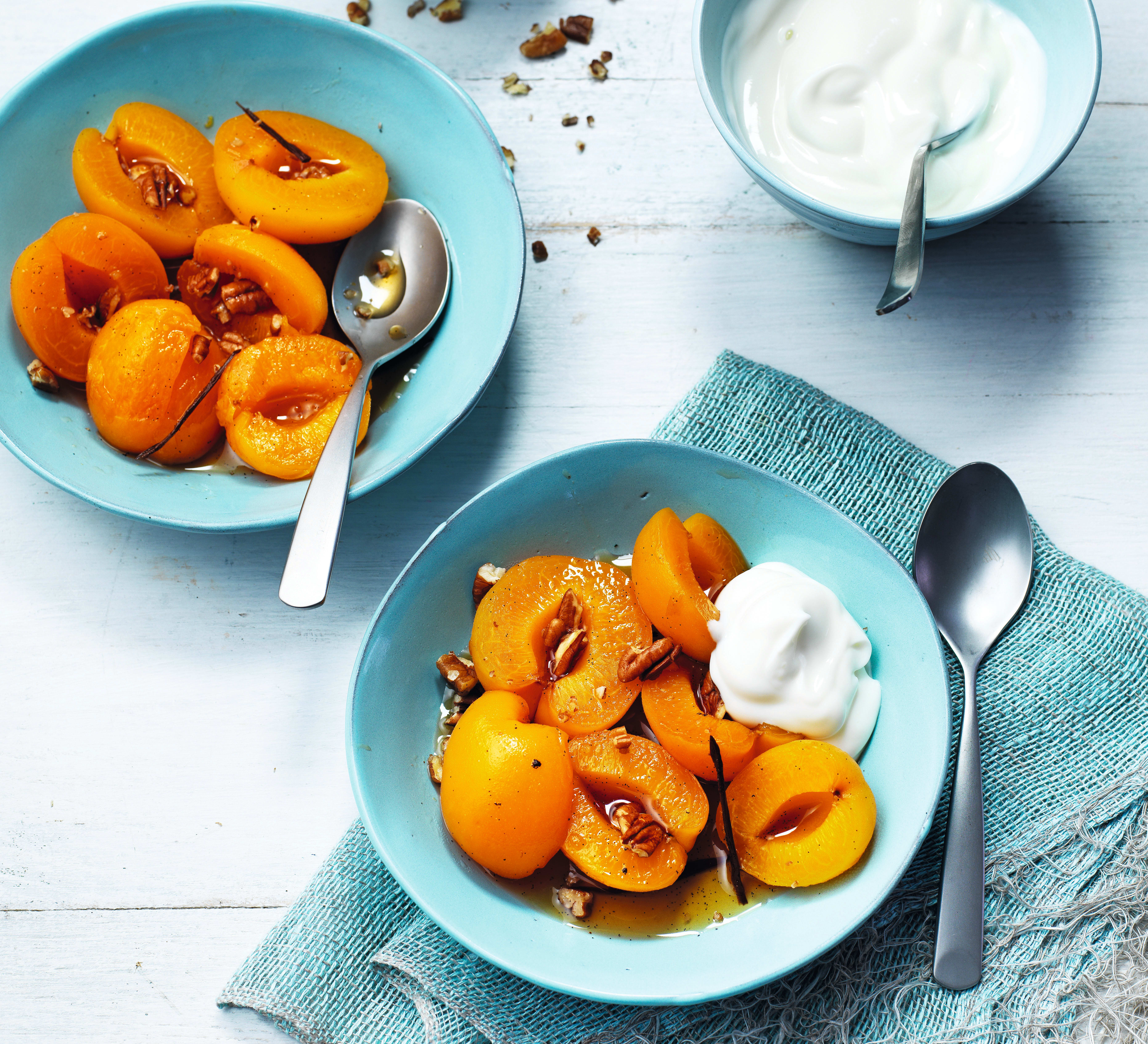Photo of Poached apricots with maple pecans by WW