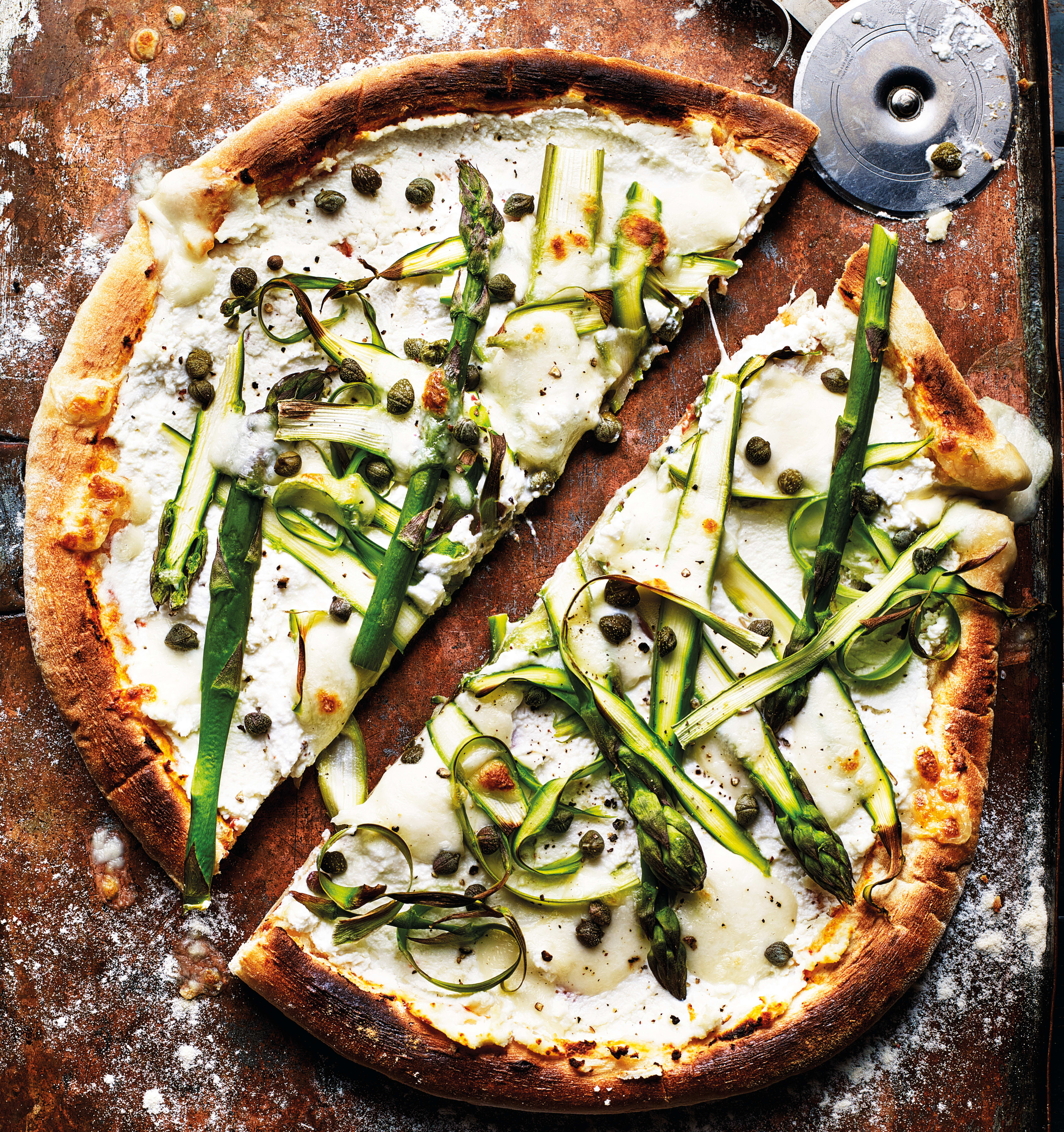 Photo of White pizza with ricotta, shaved asparagus & mozzarella by WW