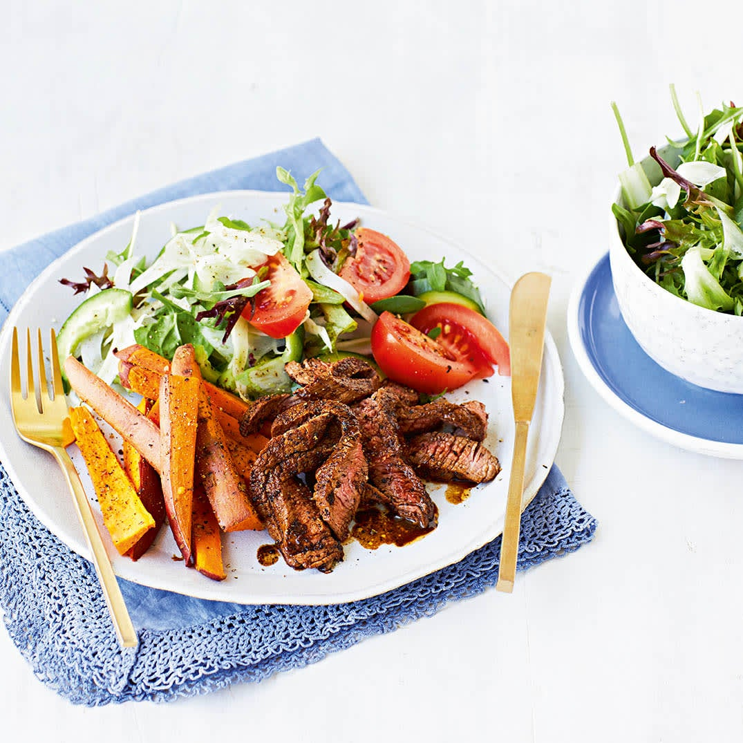 Photo of Coffee rubbed steaks with sweet potato wedges by WW