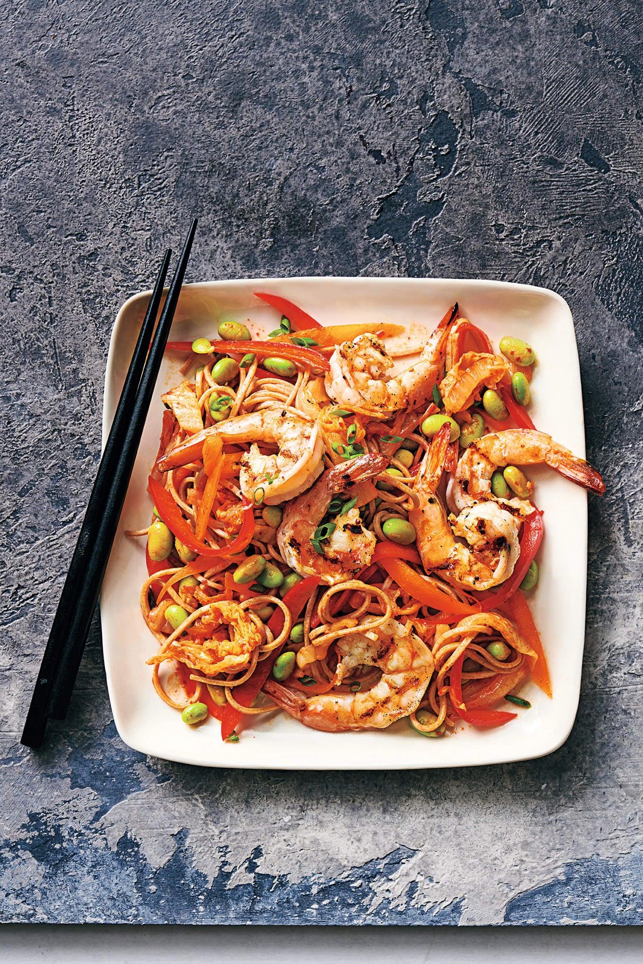 Photo of Kimchi soba with prawns & edamame by WW
