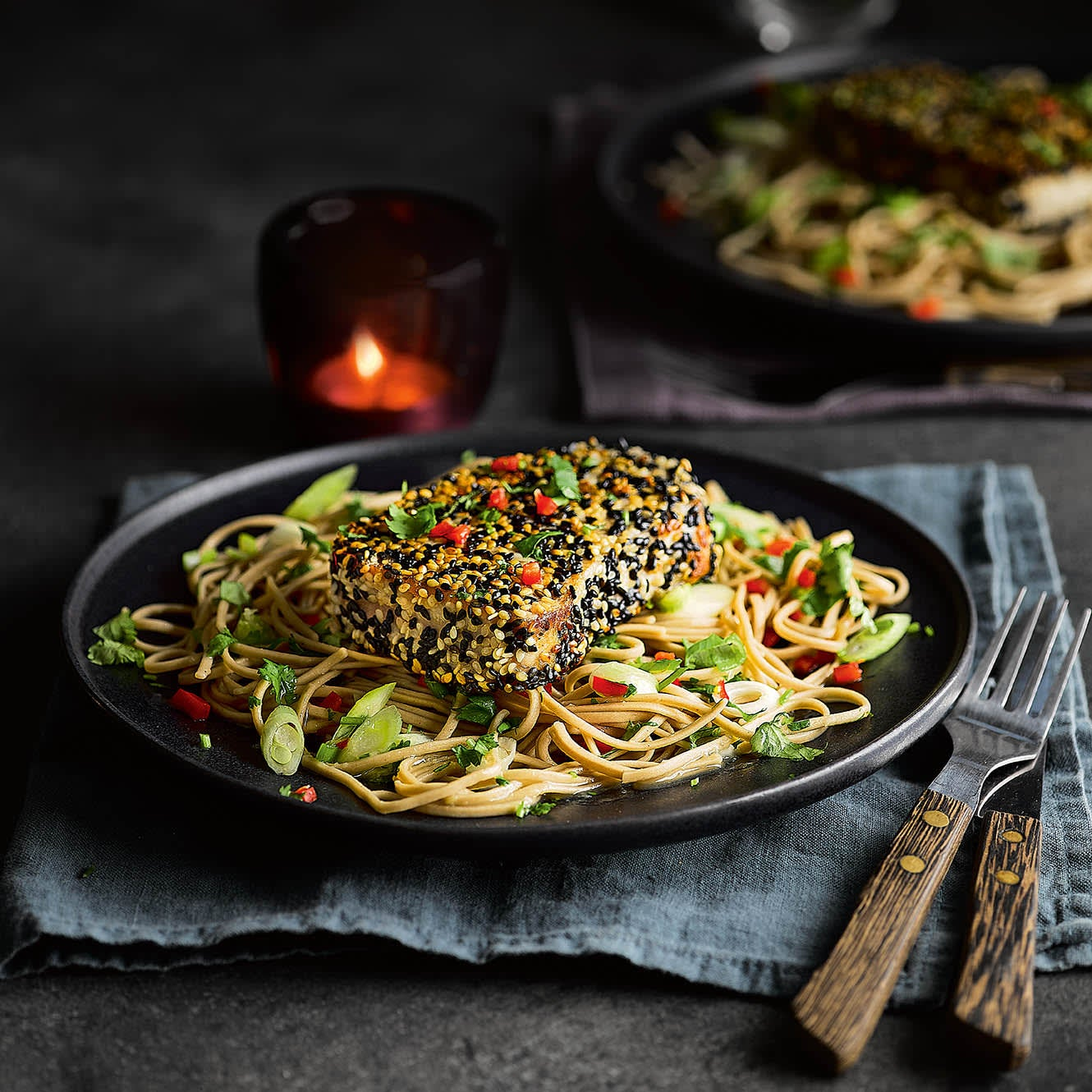 Photo of Sesame-crusted tuna with soba noodle salad by WW