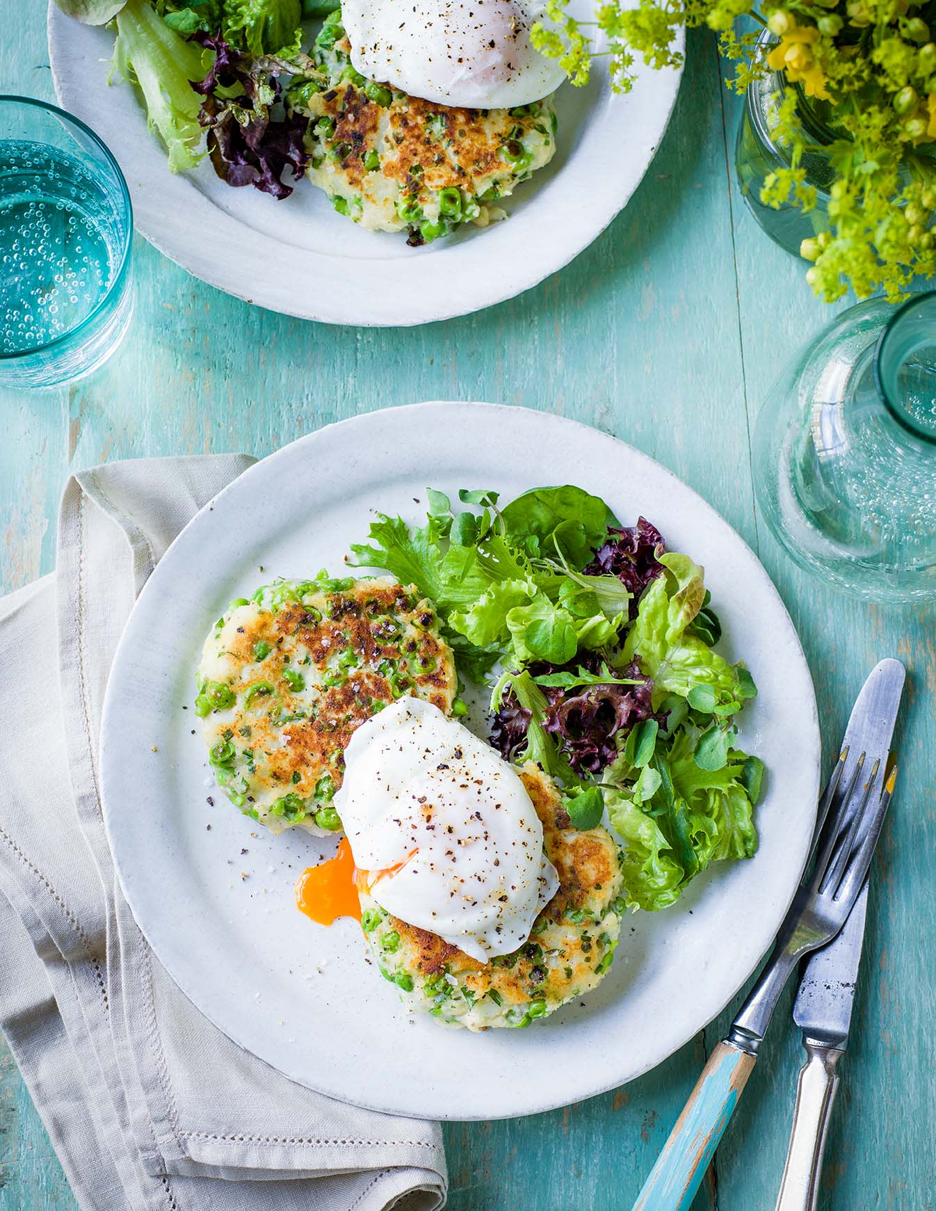 Photo of Pea & potato fritters with poached eggs by WW