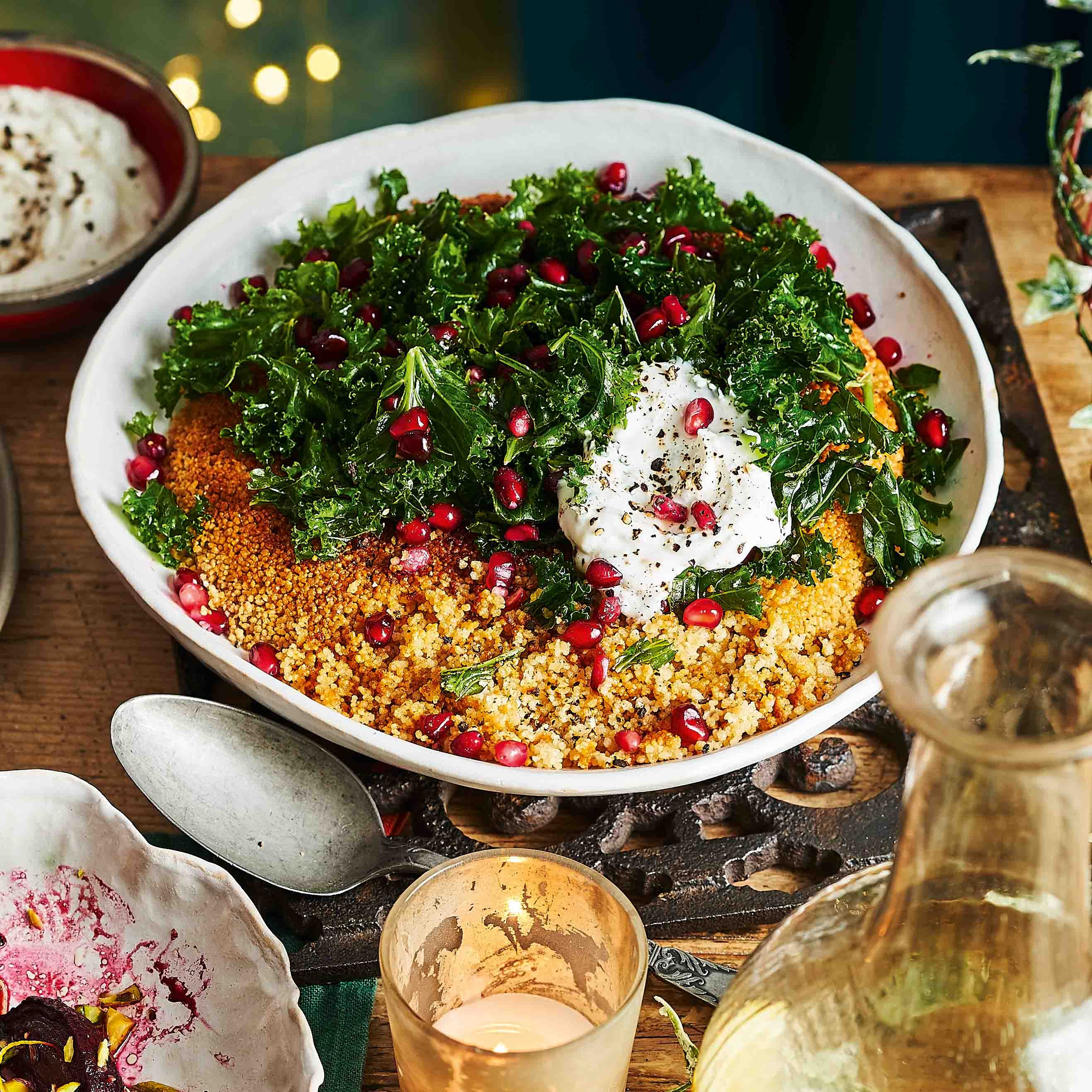 Photo of Crispy couscous with kale, pomegranate & whipped feta by WW
