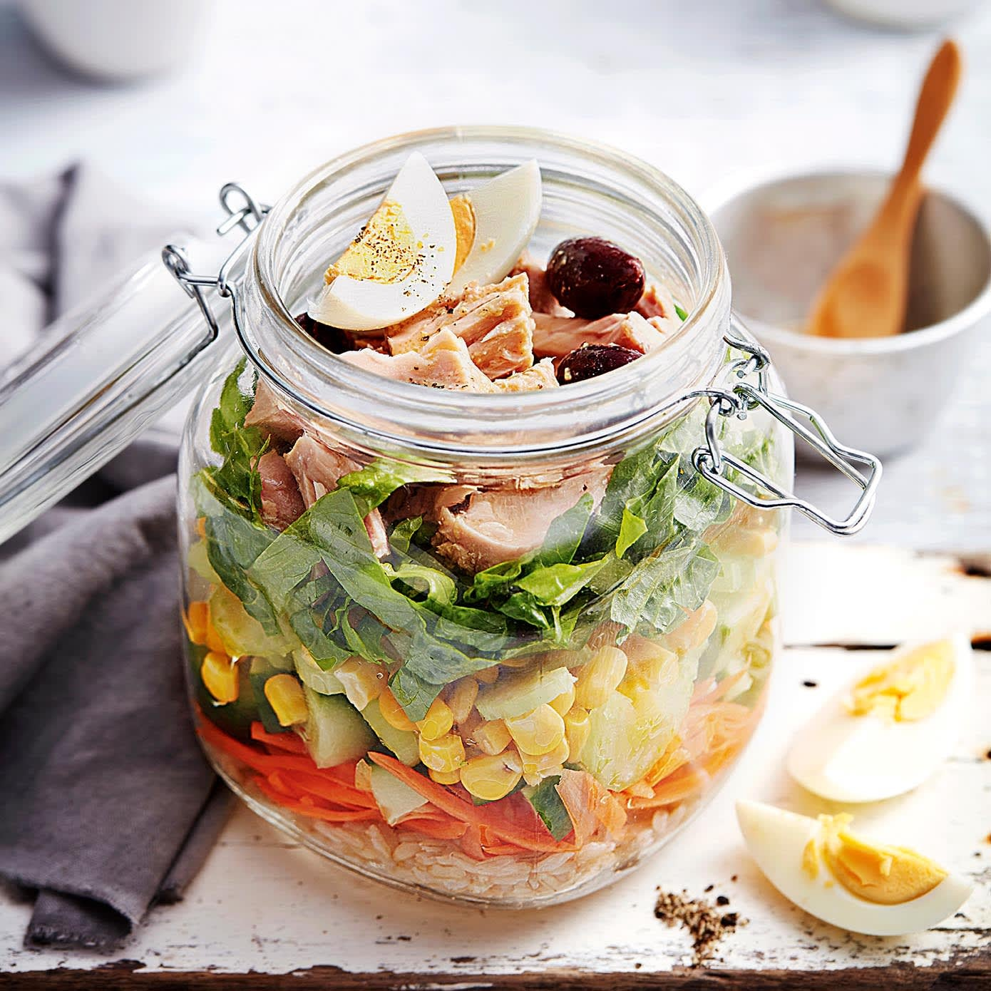 Photo of Brown rice & tuna salad in a jar by WW