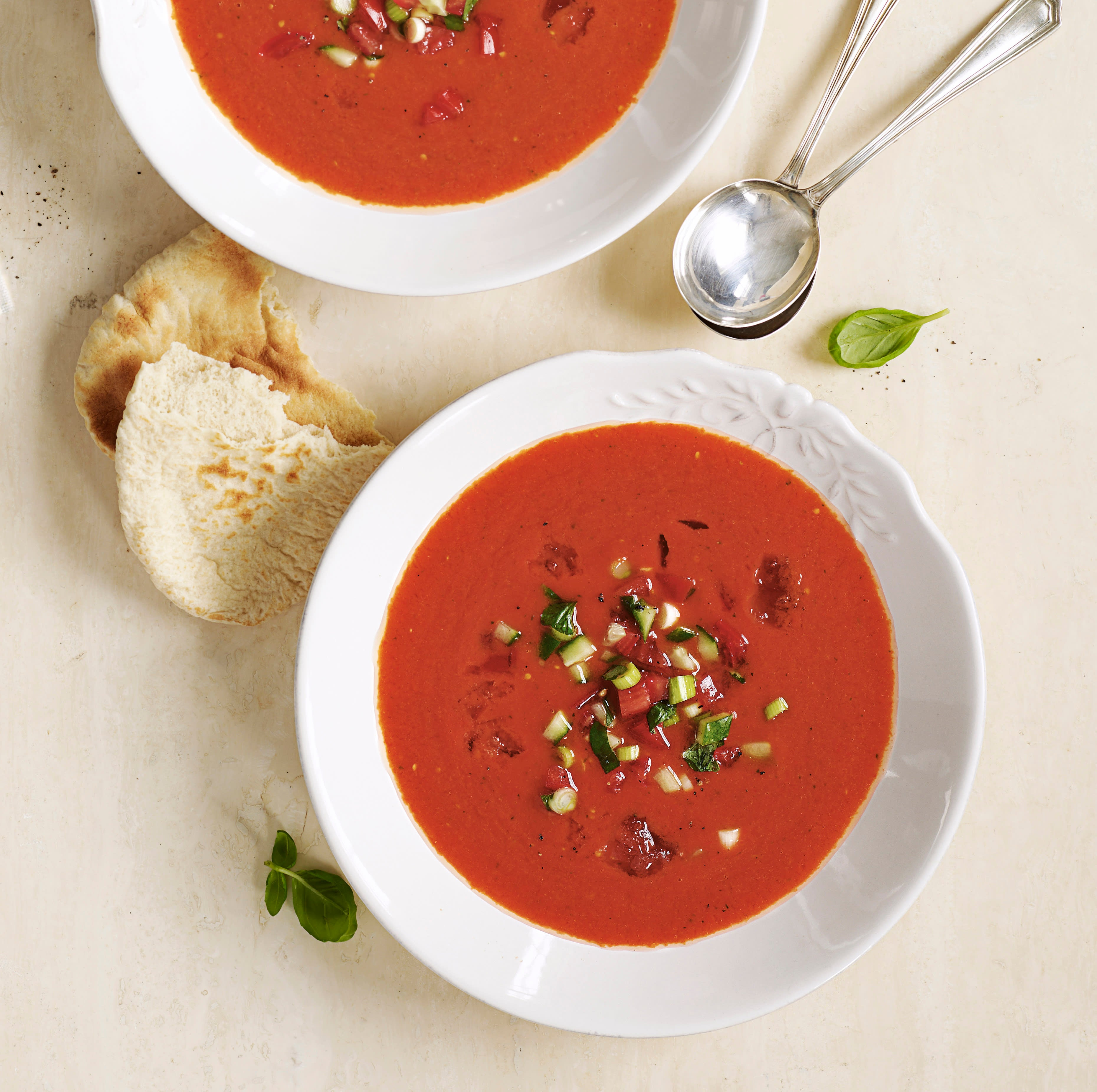 Photo of Red pepper gazpacho with cucumber & tomato salsa by WW