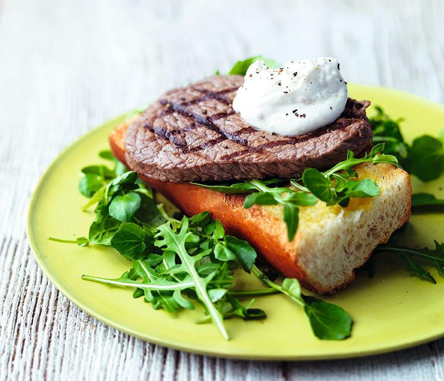 Photo of Garlic bread steak with horseradish sauce by WW