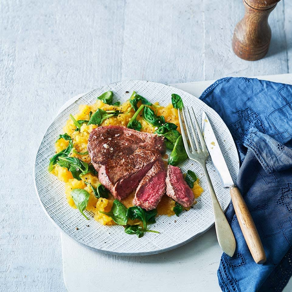 Photo of Grilled steak with sweet potato & spinach mash by WW