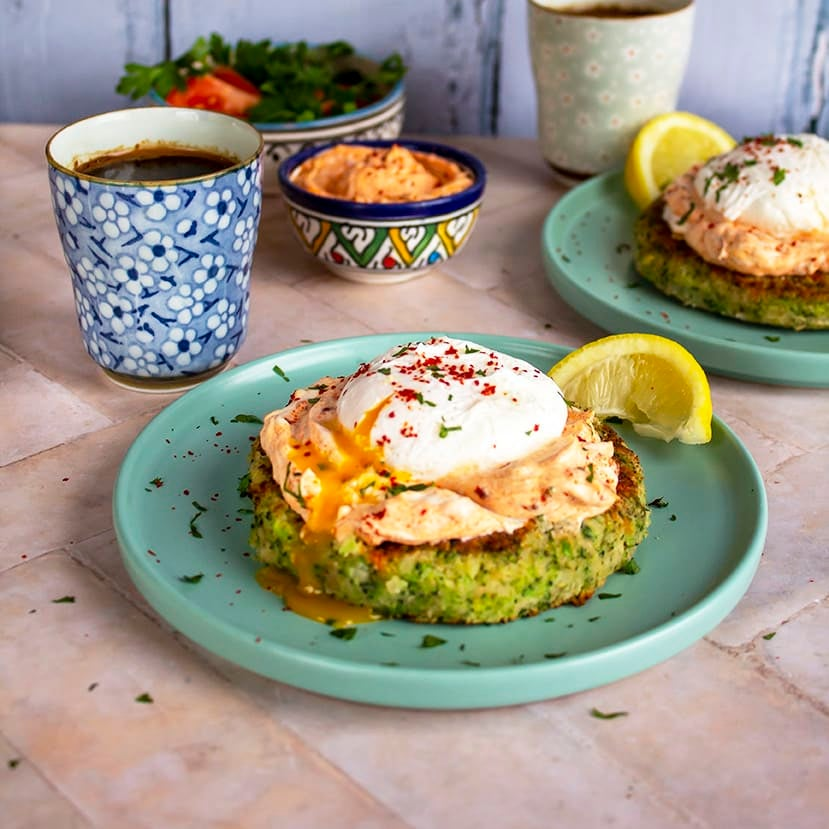 Photo of Broccollini cakes with poached eggs & spiced yogurt by WW