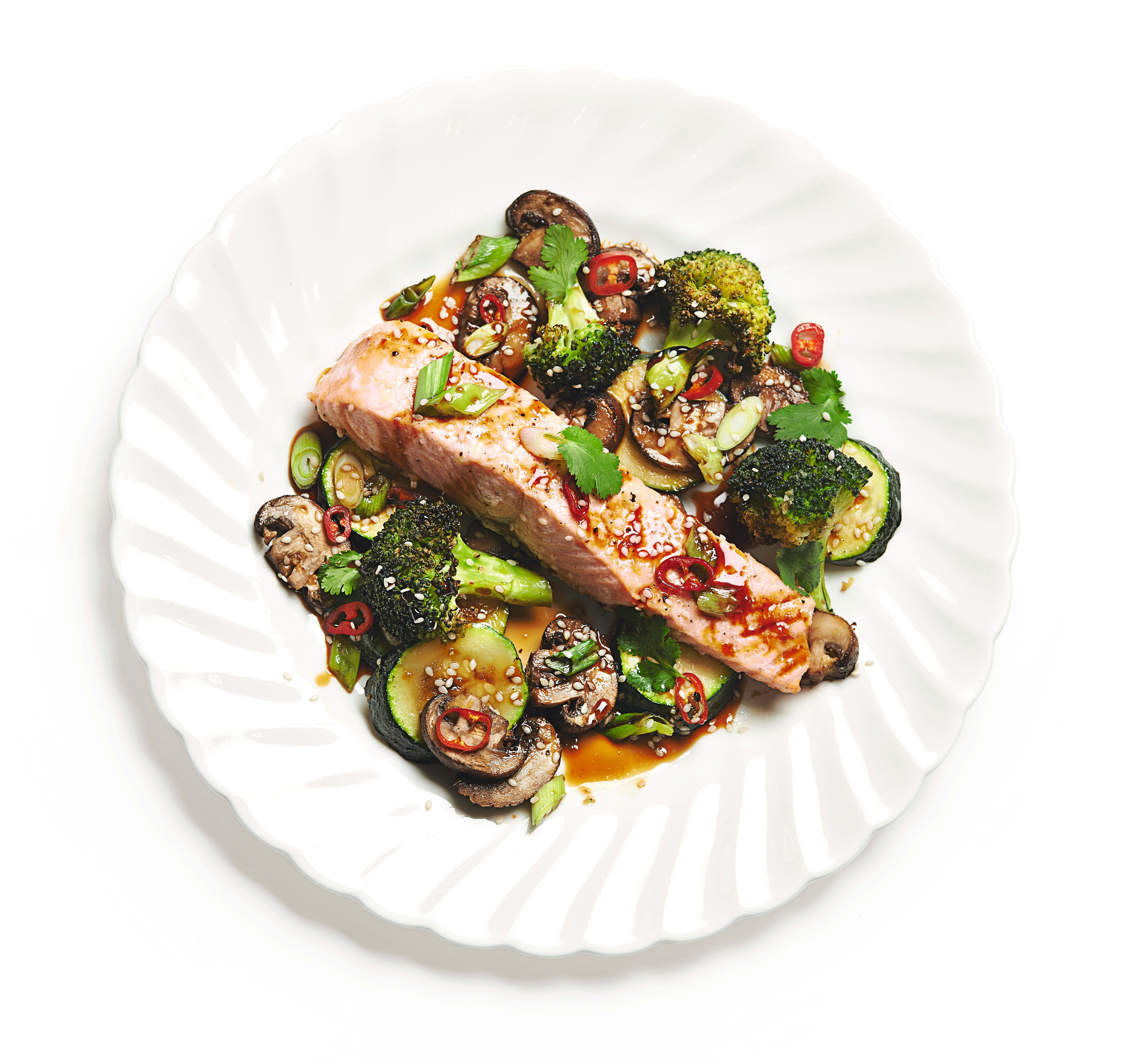 Photo of Teriyaki baked salmon with broccoli, courgette and mushrooms by WW
