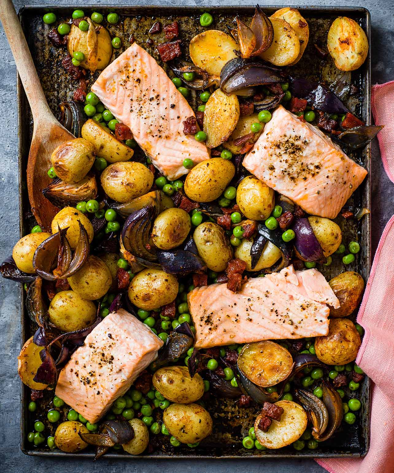 Photo of Roast salmon with peas, potatoes & chorizo by WW