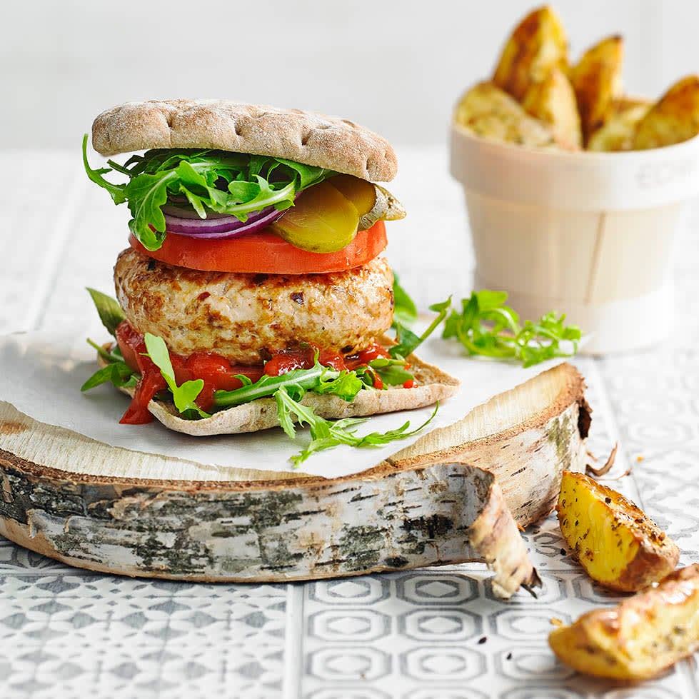 Photo of Spicy turkey burger with rosemary & garlic wedges by WW