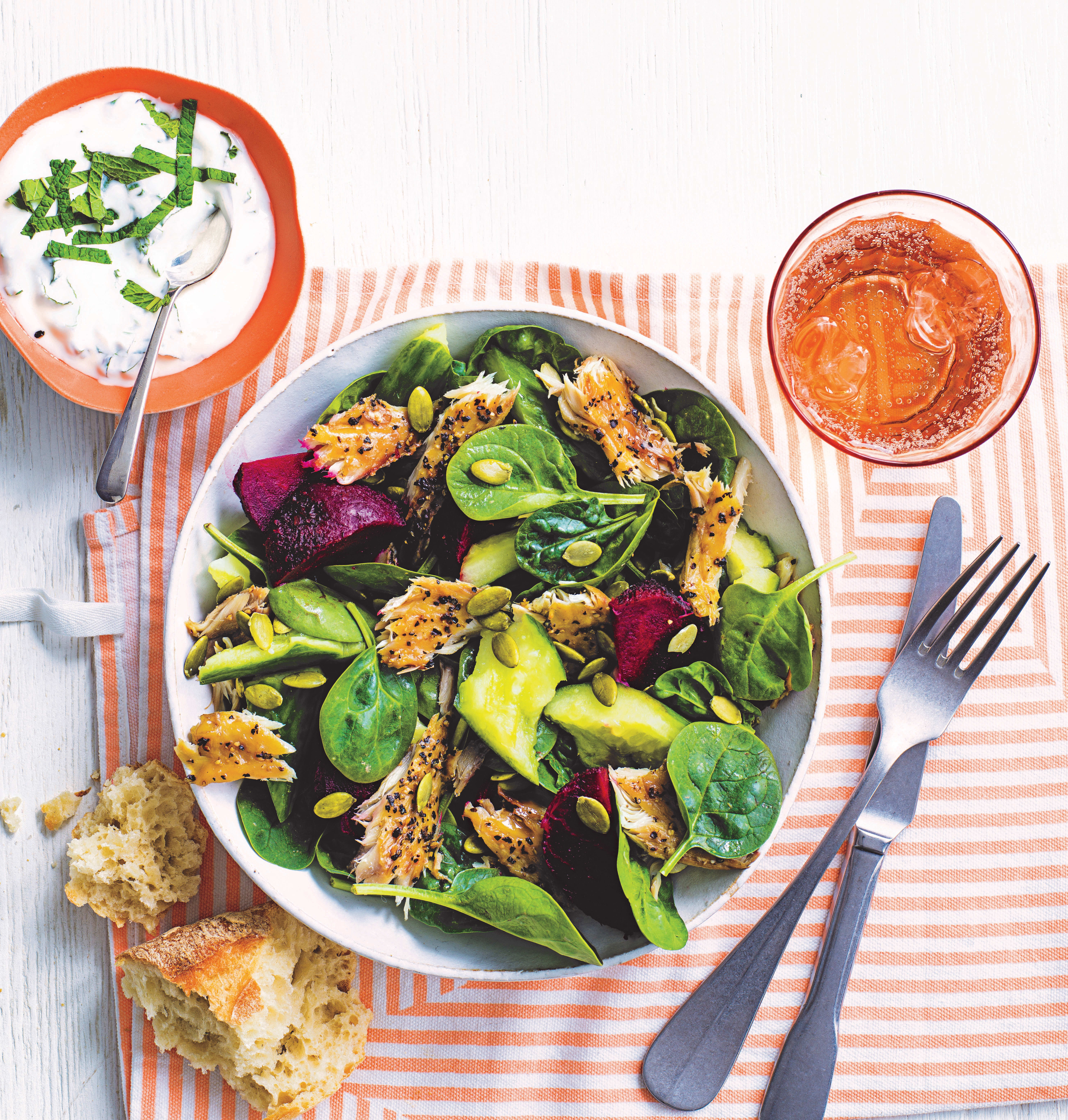 Photo of No-cook mackerel salad with beetroot & cucumber by WW