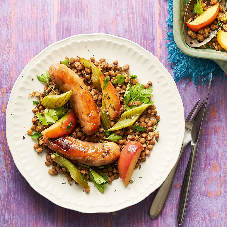 Photo of Sausages with herby lentils & apples by WW