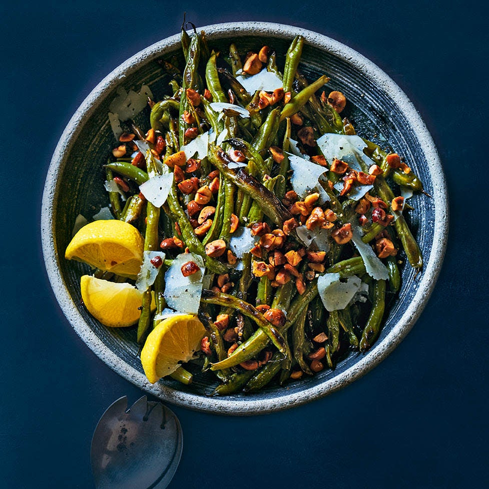 Photo of Roasted green beans with toasted hazelnuts & shaved Parmesan by WW