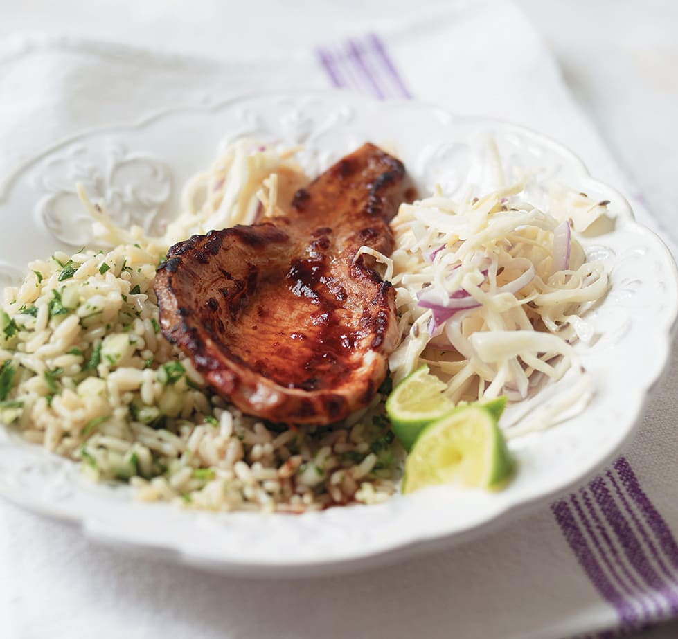 Photo of Chipotle pork with chimichurri sauce & slaw by WW