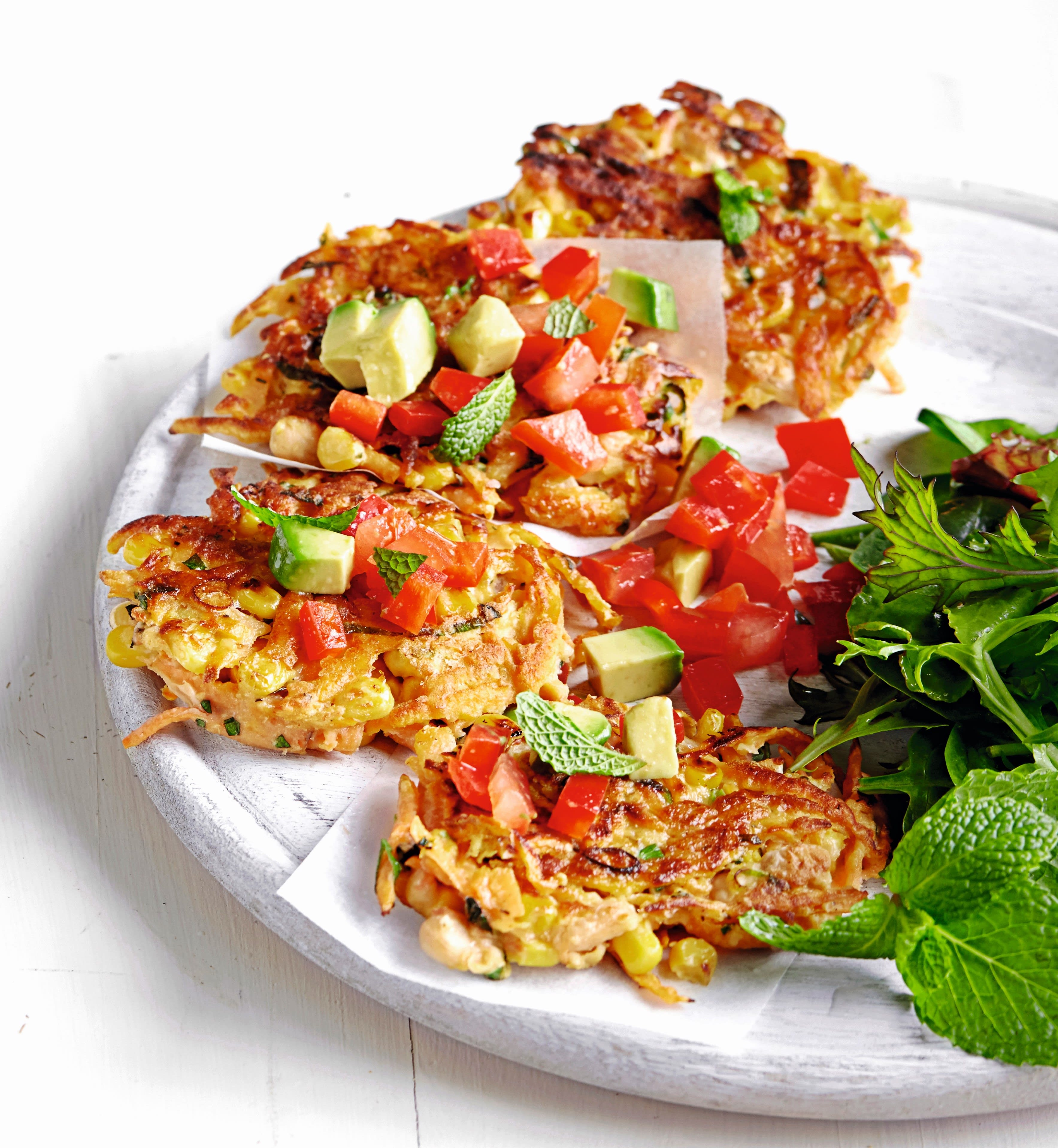 Photo of White bean, corn & herb fritters with red pepper salsa by WW