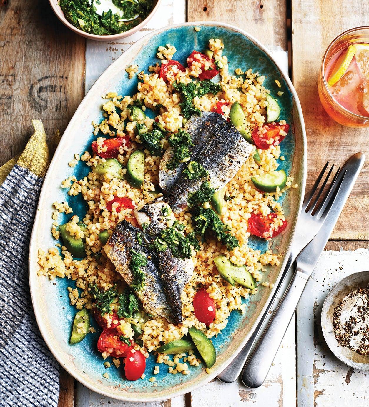 Photo of Pan-fried sardines with bulgur wheat  pesto by WW