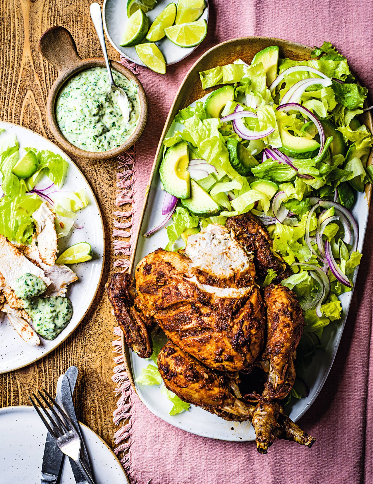 Photo of Peruvian-style roast chicken with green sauce & avocado salad by WW