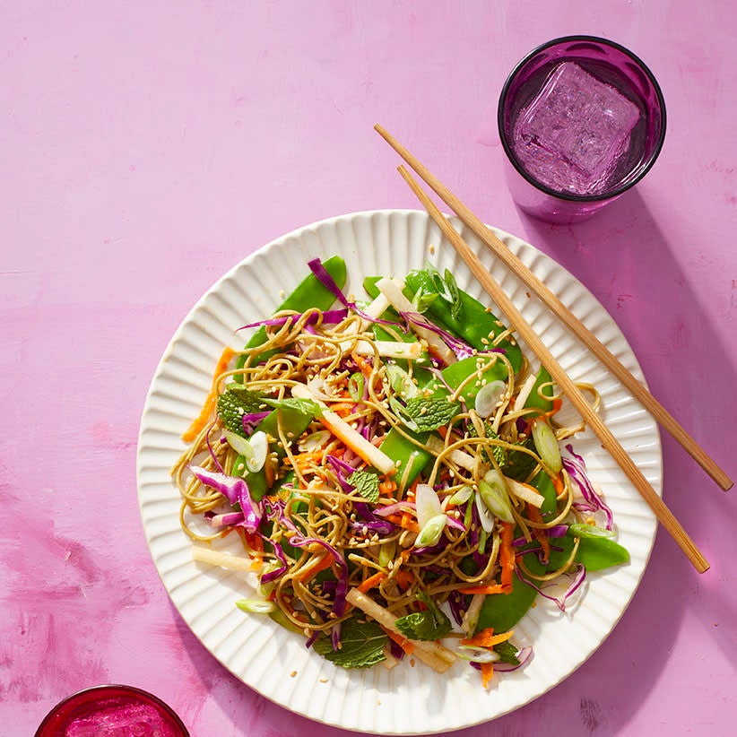 Photo of Rainbow noodle salad with lime dressing by WW
