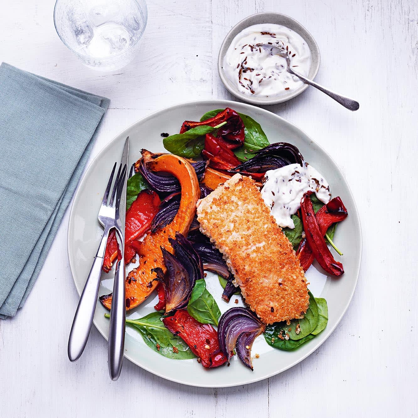 Photo of Quinoa-crusted salmon with roasted veg by WW