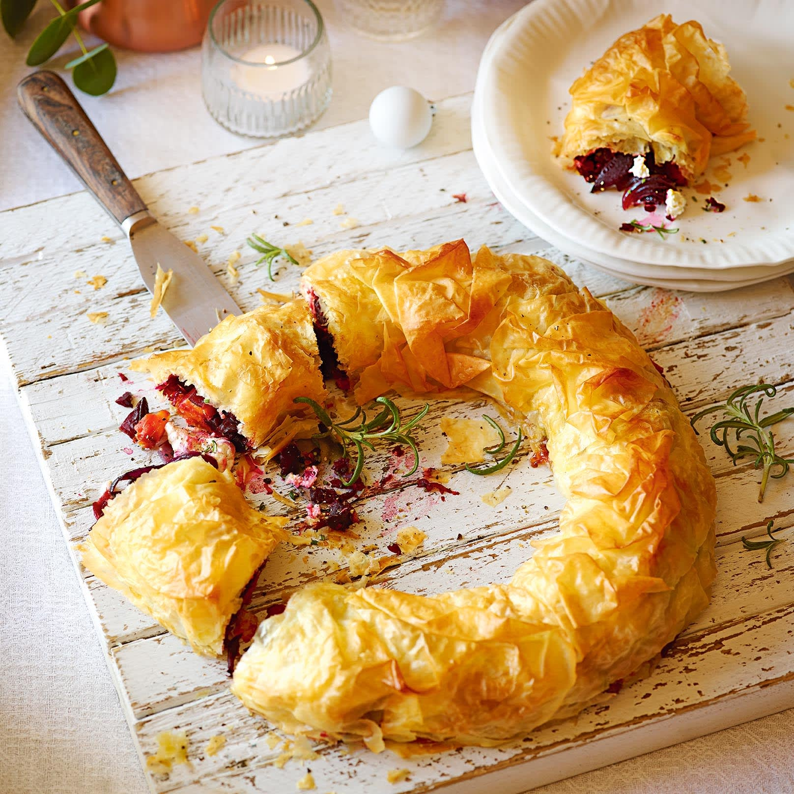 Photo of Butternut squash, beetroot & goats' cheese strudel by WW