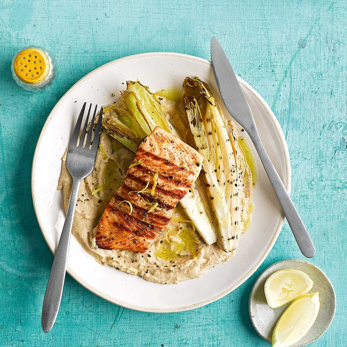 Photo of Grilled salmon & chicory with cannellini bean mash by WW