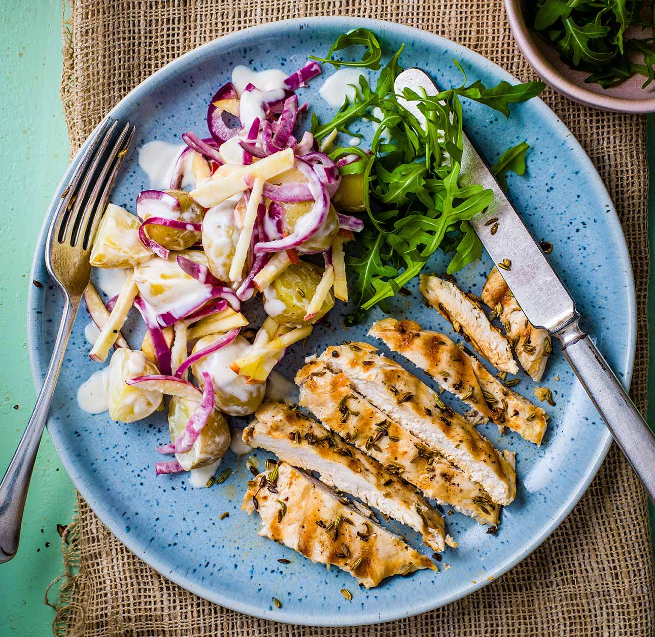 Photo of Fennel grilled chicken with apple & potato salad by WW