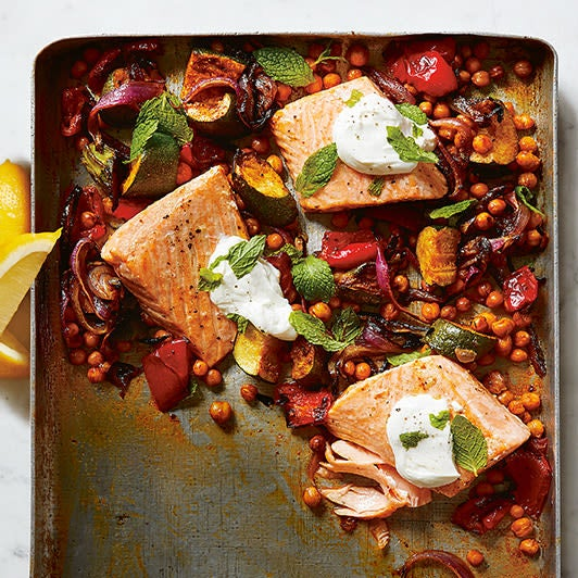 Photo of Roasted salmon with chickpeas, courgette & red pepper by WW