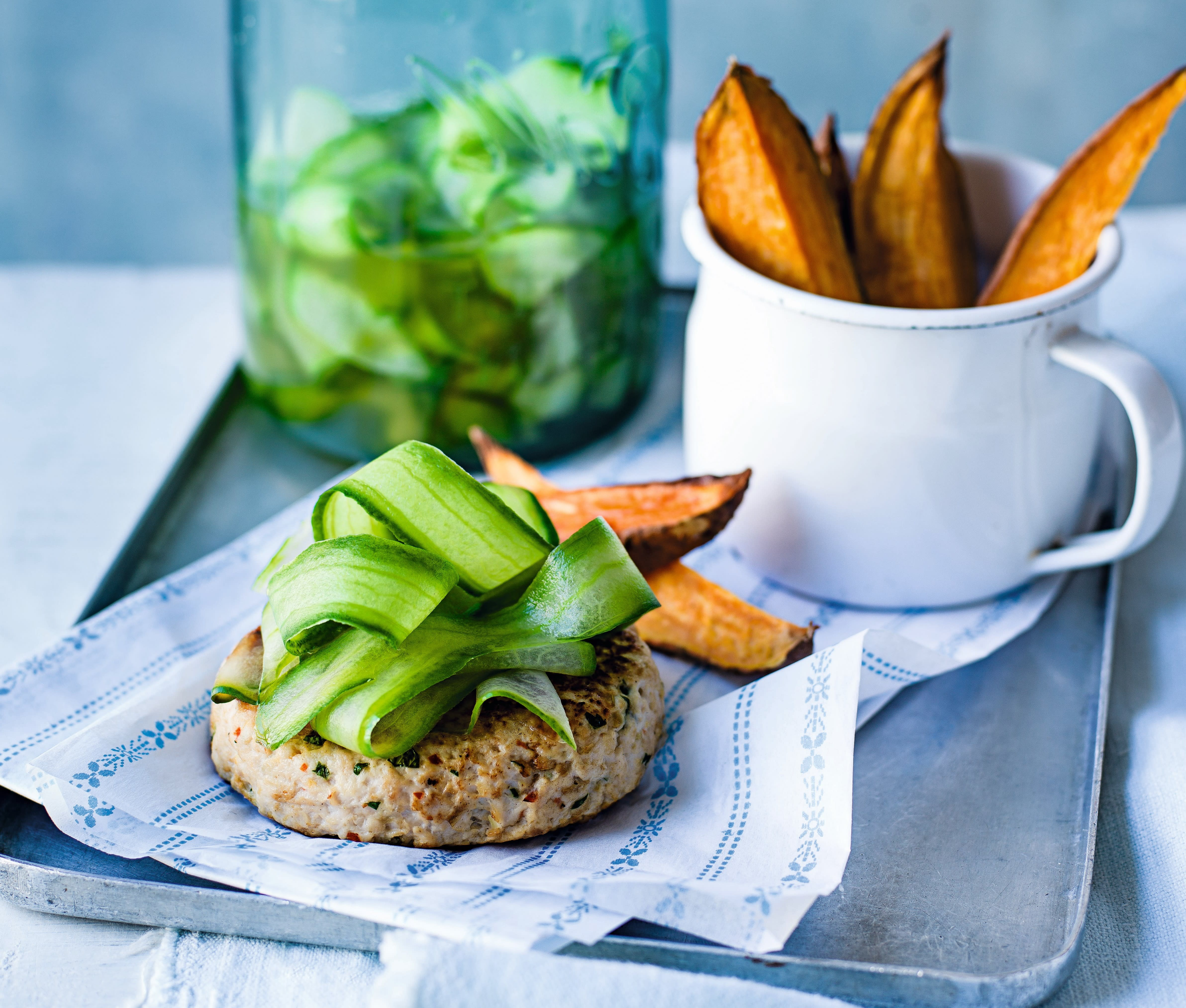 Photo of Turkey burgers with pickled cucumber & wedges by WW