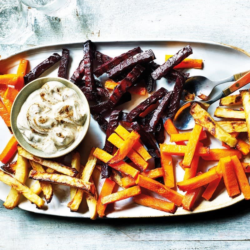 Photo of Root veg chips with a spicy yogurt dip by WW