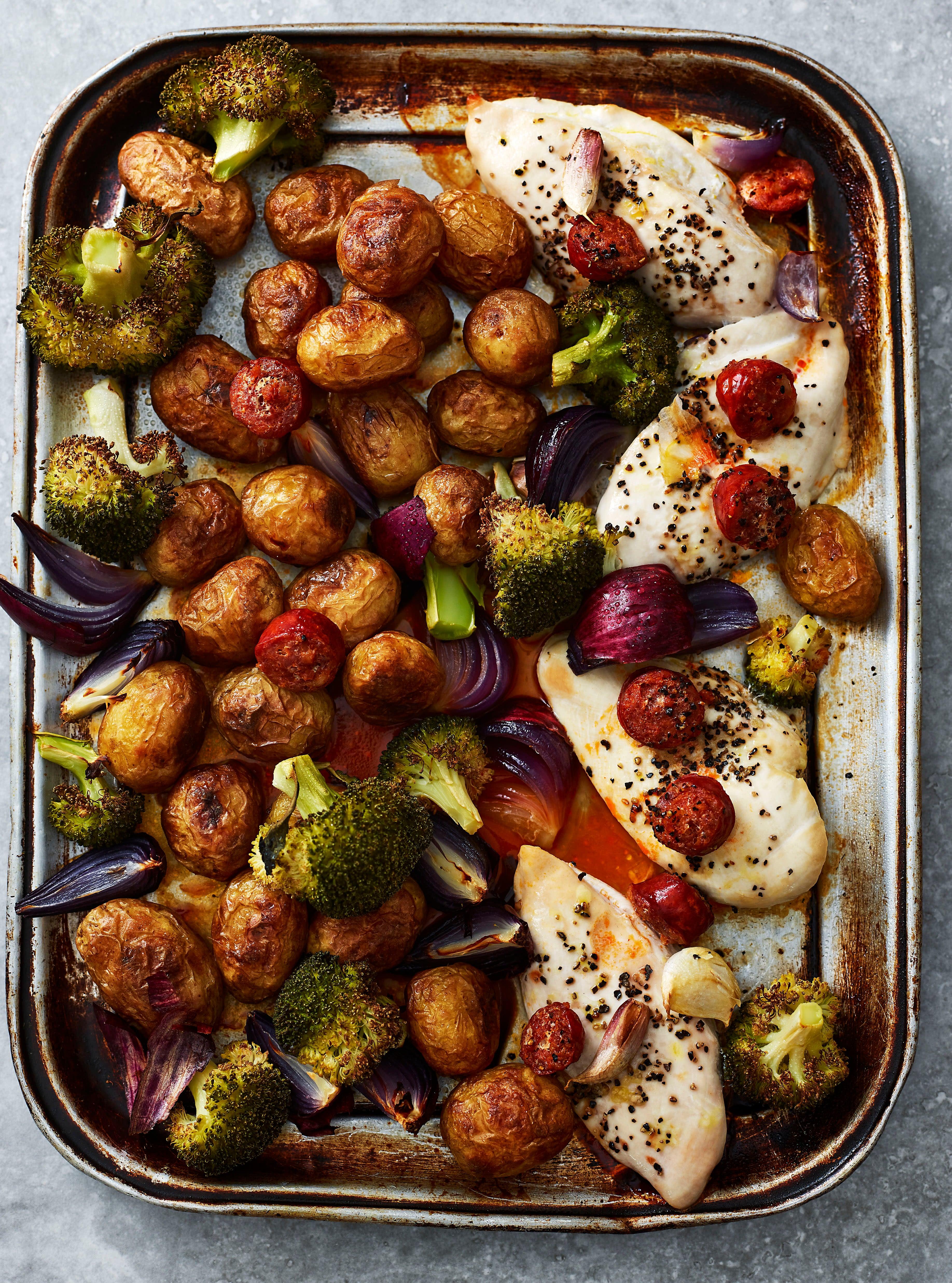 Photo of Chicken, chorizo, potato & broccoli traybake by WW