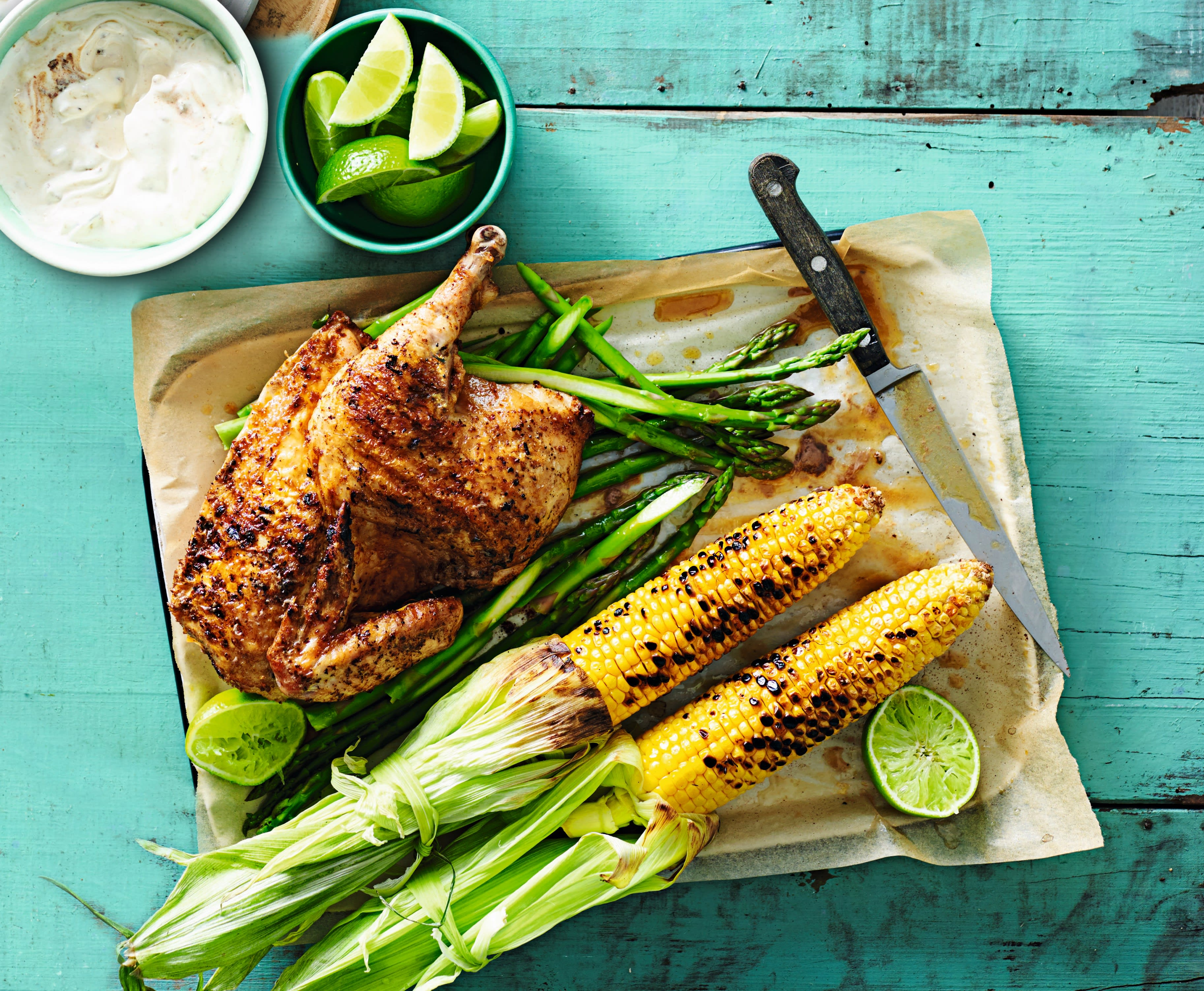Photo of Smoky spatchcock chicken with griddled corn & chipotle yogurt by WW