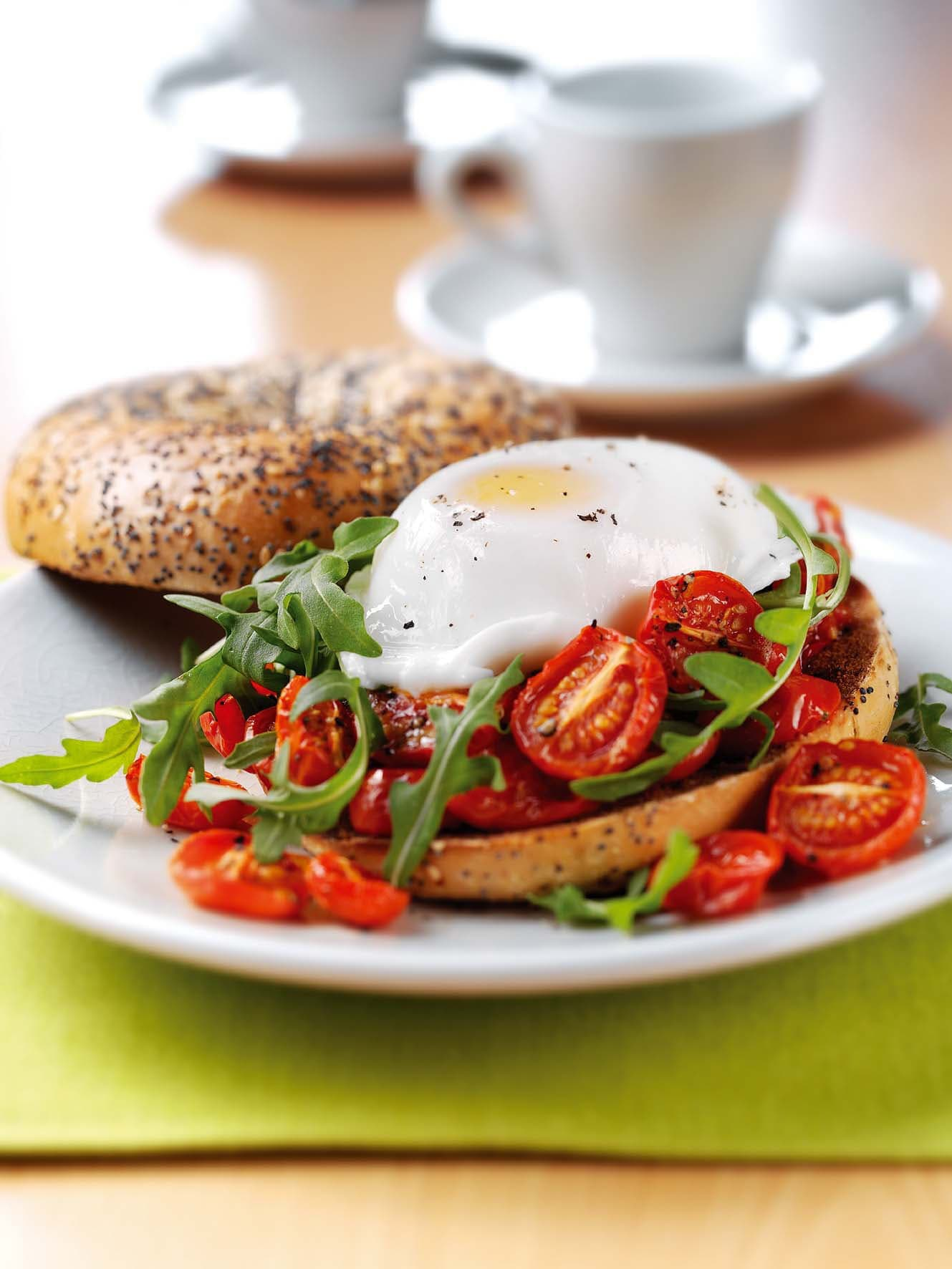 Photo of Oven roasted tomato, egg and rocket bagel by WW